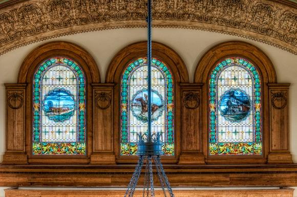 Ashton Depot stained glass.
