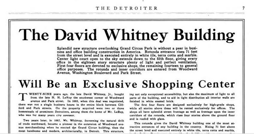 A 1914 article from The Detroiter about the opening of the new David Whitney Building