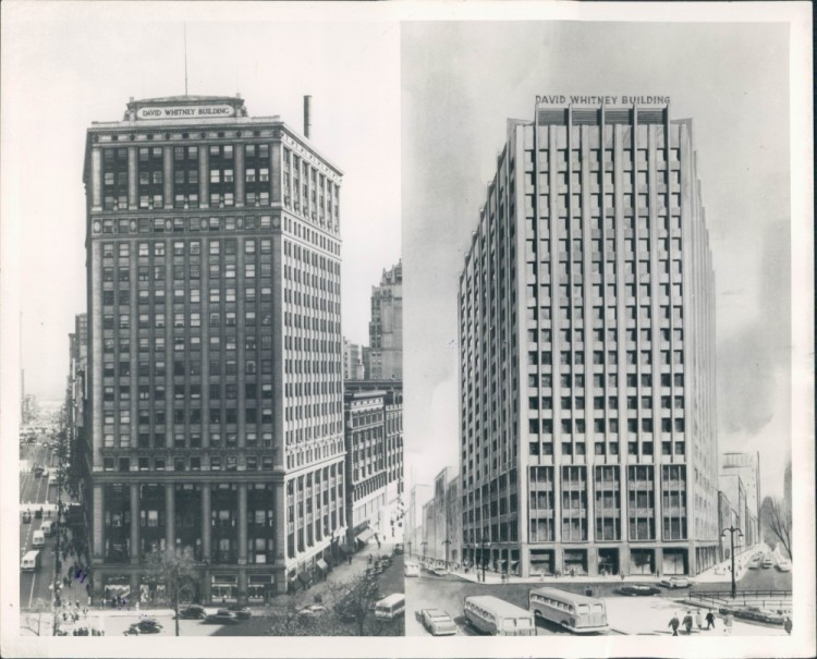 "A side-by-side comparison of the original exterior next to the ""modernized"" exterior created in the 1950s"
