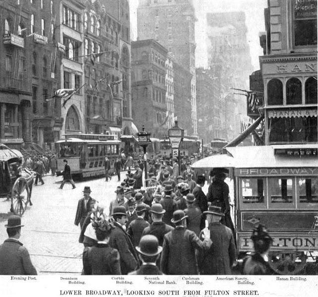 Broadway bustled around the Corbin Building (center) in 1899 -- photo NYPL Collection