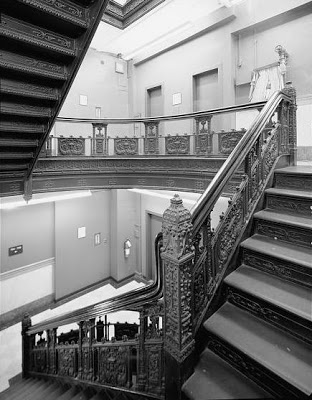 Inside were highly-unusual cast iron staircase railings -- photo Library of Congress