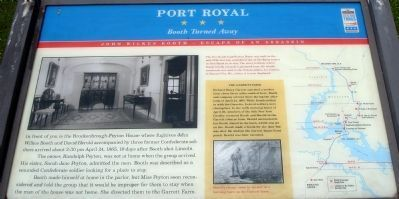 The Port Royal Civil War Trails marker outside the Peyton House.  Booth arrived expecting southern hospitality, but it was good old-fashioned dignity that turned him away.  The 'man of the house' was not home.