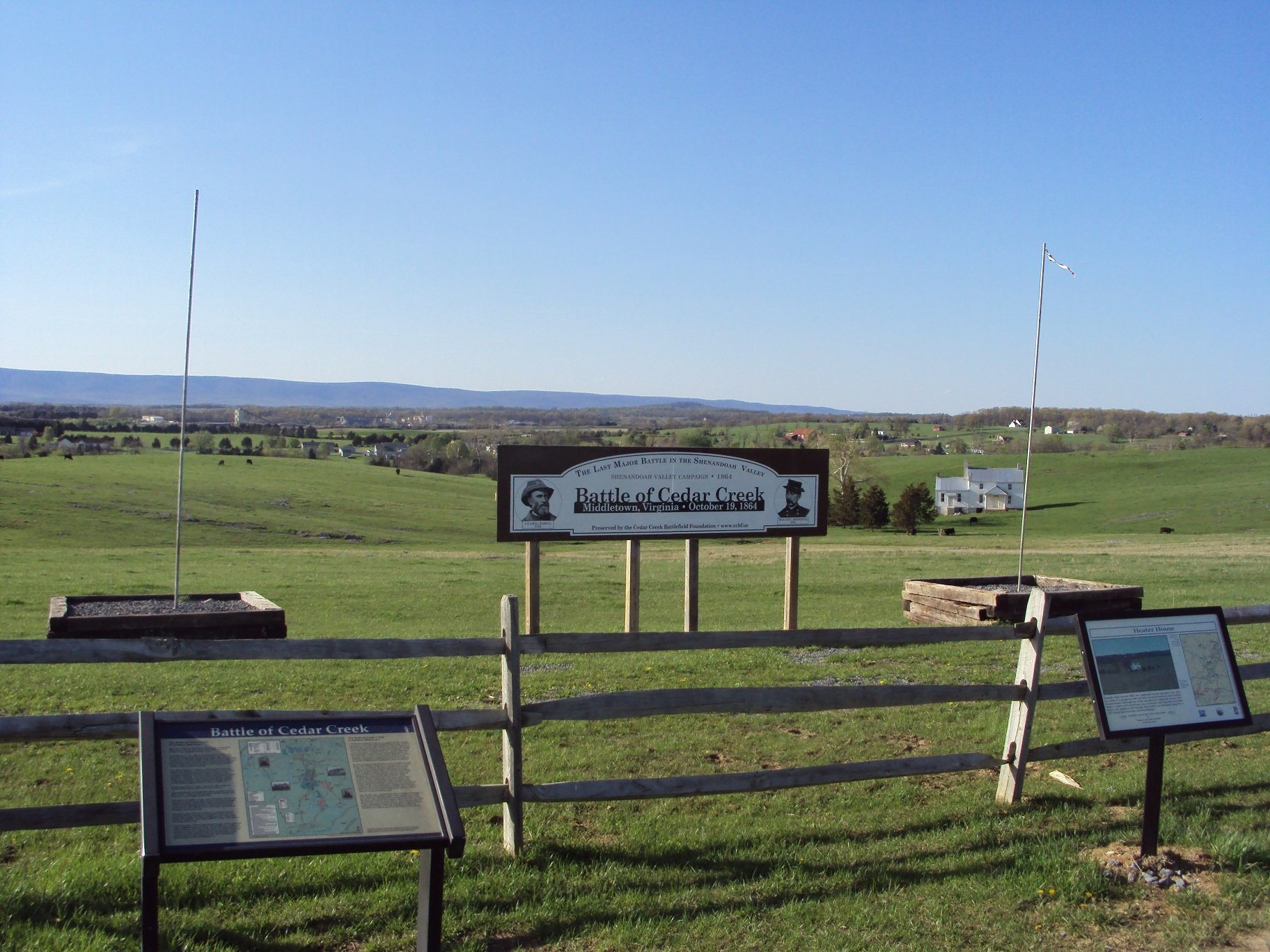 A view of the center of the Cedar Creek battlefield taken from the headquarters building which offers information and sponsors annual events.