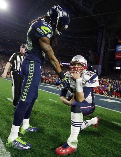 Richard Sherman and Tom Brady after the game