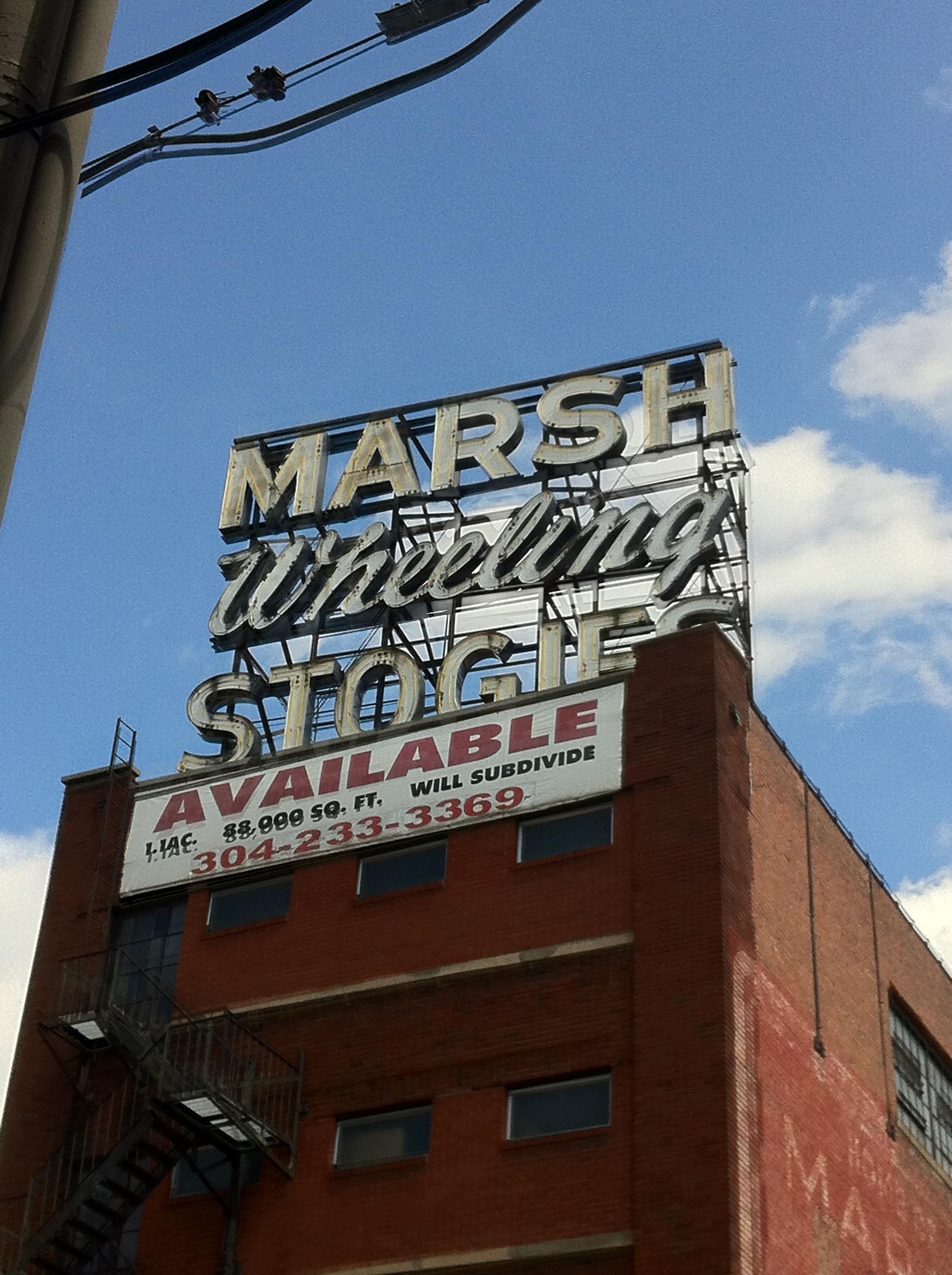 Marsh Wheeling Sign Still Stands