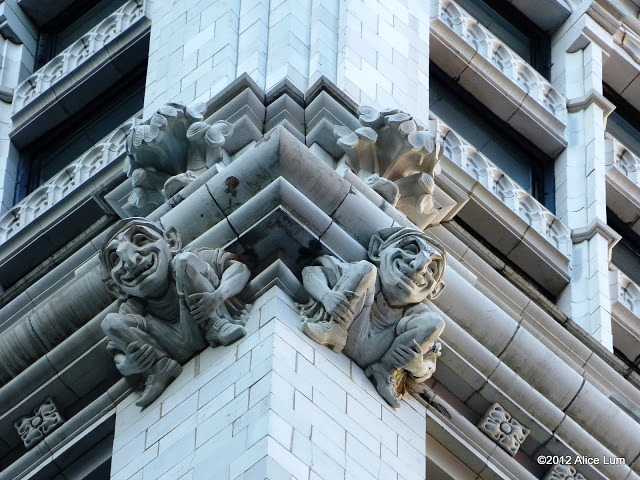Tongue-in-cheek Gothic ornaments, many essentially unseen from street level, covered the building -- photo by Alice Lum