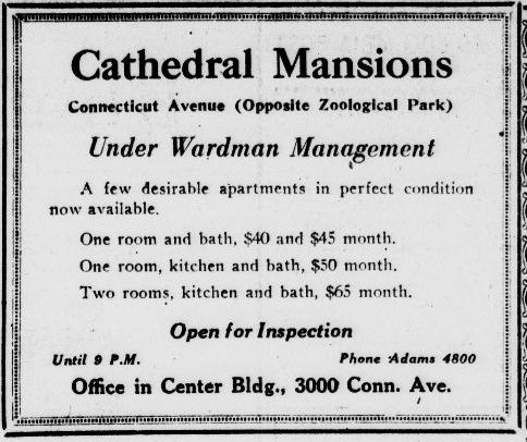 Advertisement for Cathedral Mansions from 1927. Library of Congress.