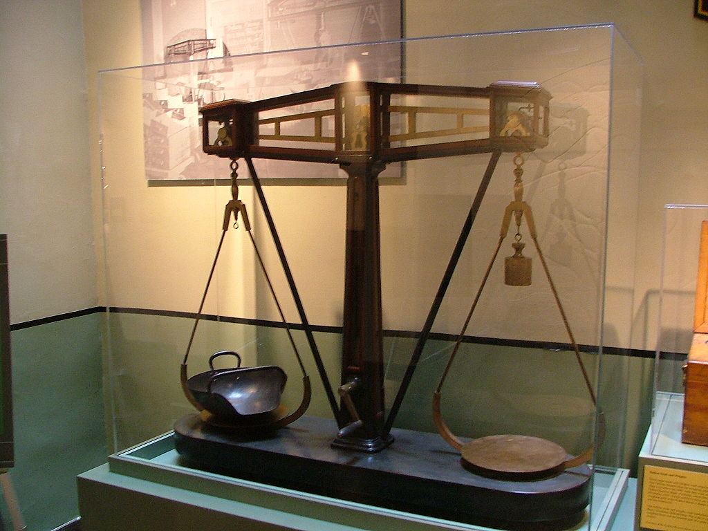 A scale for weighing coinage used at the New Orleans Mint in the 19th century