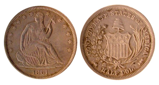 A Confederate half-dollar struck at New Orleans in 1861