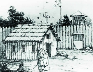An illustration of the first Ste. Anne's, built in 1701
