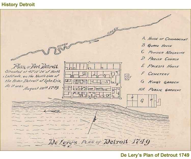 "1749 map of Fort Pontchartrain with ""A"" indicating Ste. Anne's"