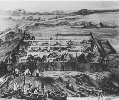 1749 illustration of Detroit, with Ste. Anne's depicted on the far right