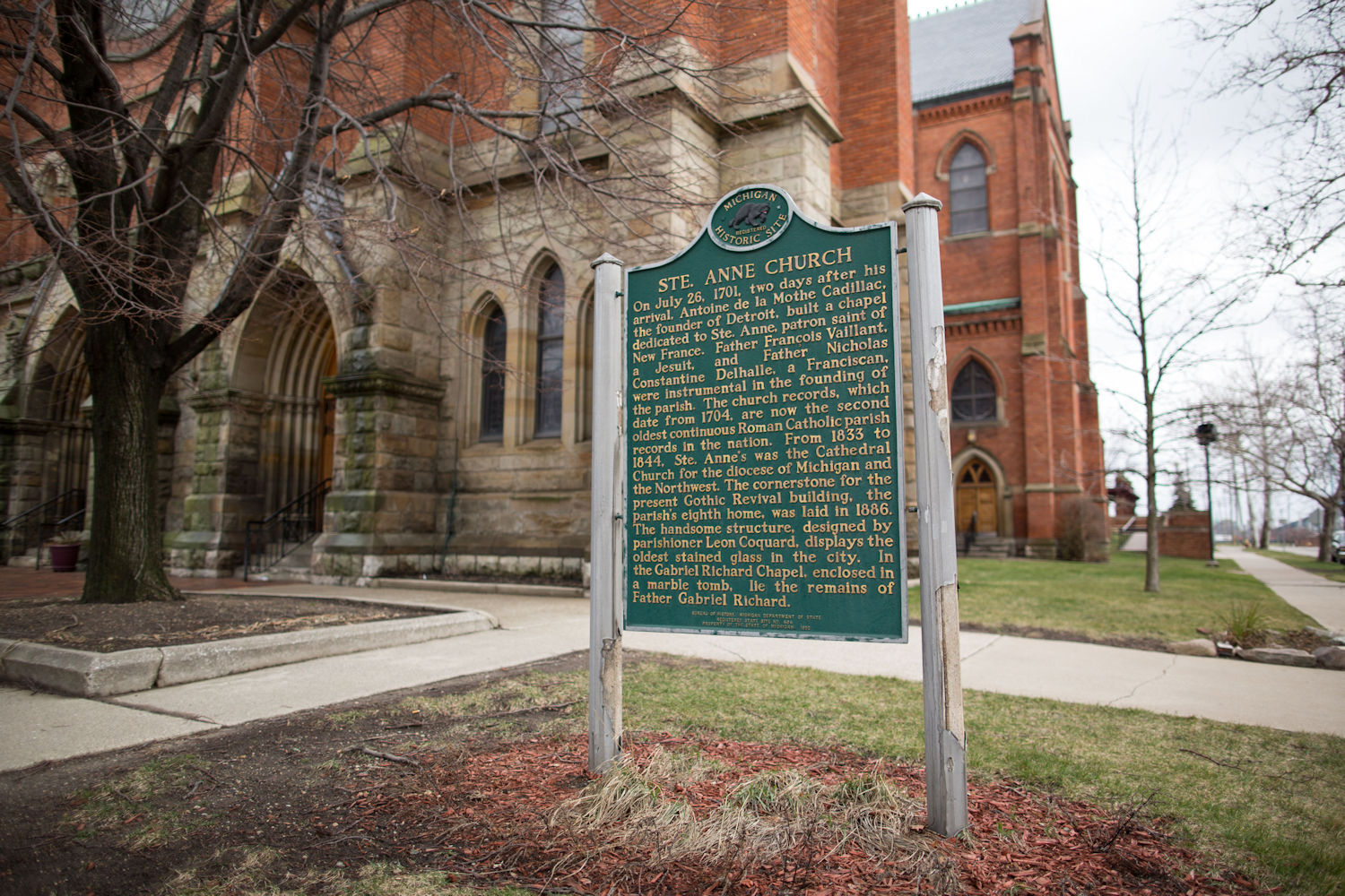 A historical marker outside the church