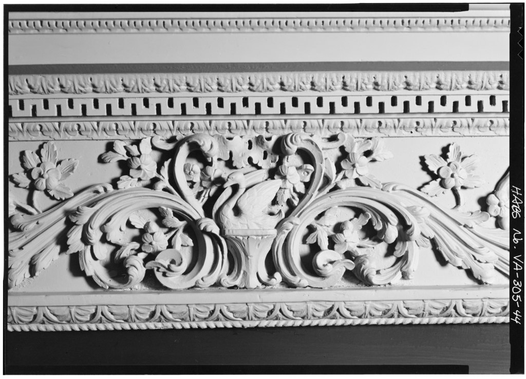 An extravagant mantelpiece frieze in the drawing room on Kenmore's first floor