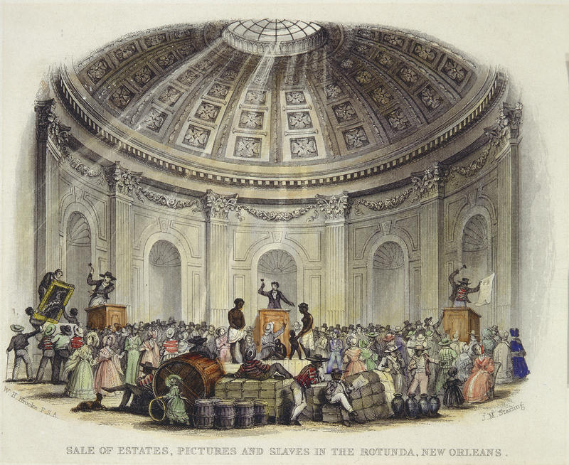Slave traders sell human being in the rotunda of the St. Louis Hotel in 1842.