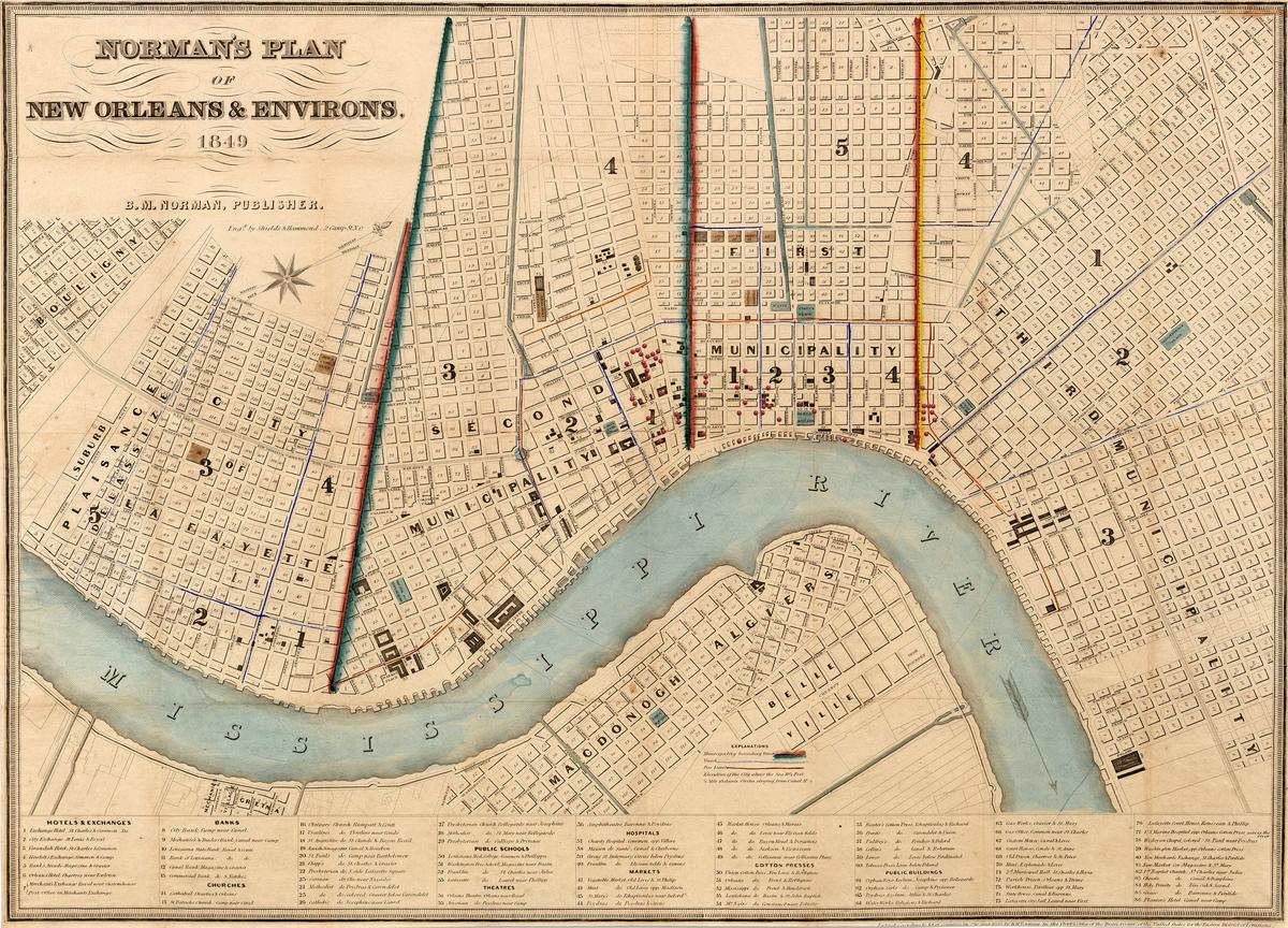 Mapping the Slave Trade in New Orleans, created in 2015 by The Historic New Orleans Collection for the exhibition Purchased Lives: New Orleans and the Domestic Slave Trade