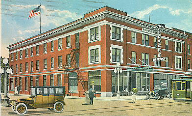 The hotel opened in 1914. At the time of this painting (1916) the building was only three stories tall.
