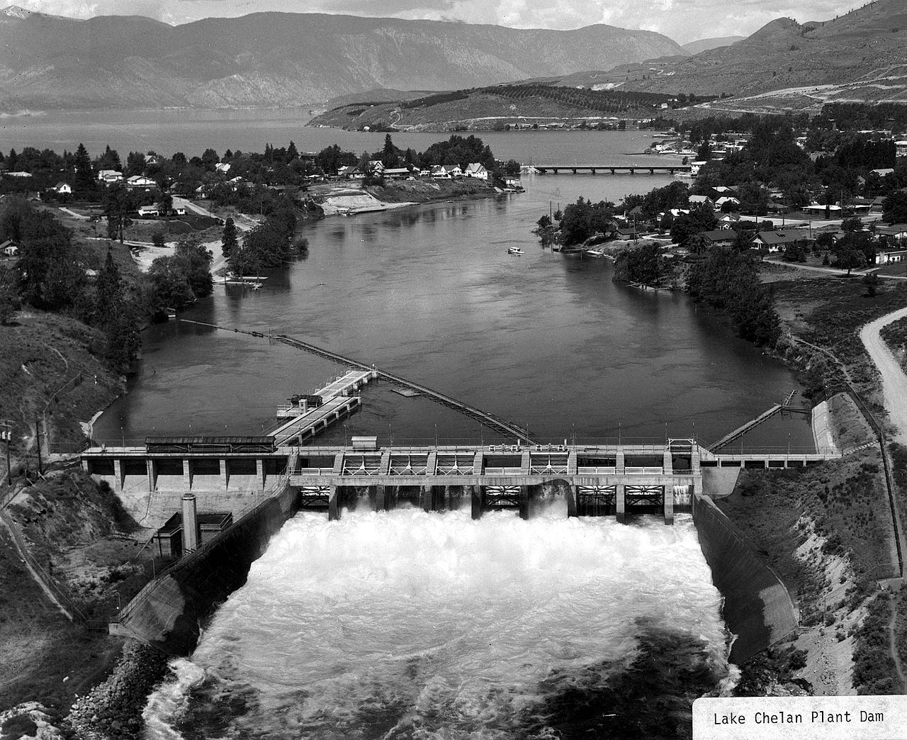 Lake Chelan Damn was built in 1927 along with the powerhouse, which is located 32 miles to the south.