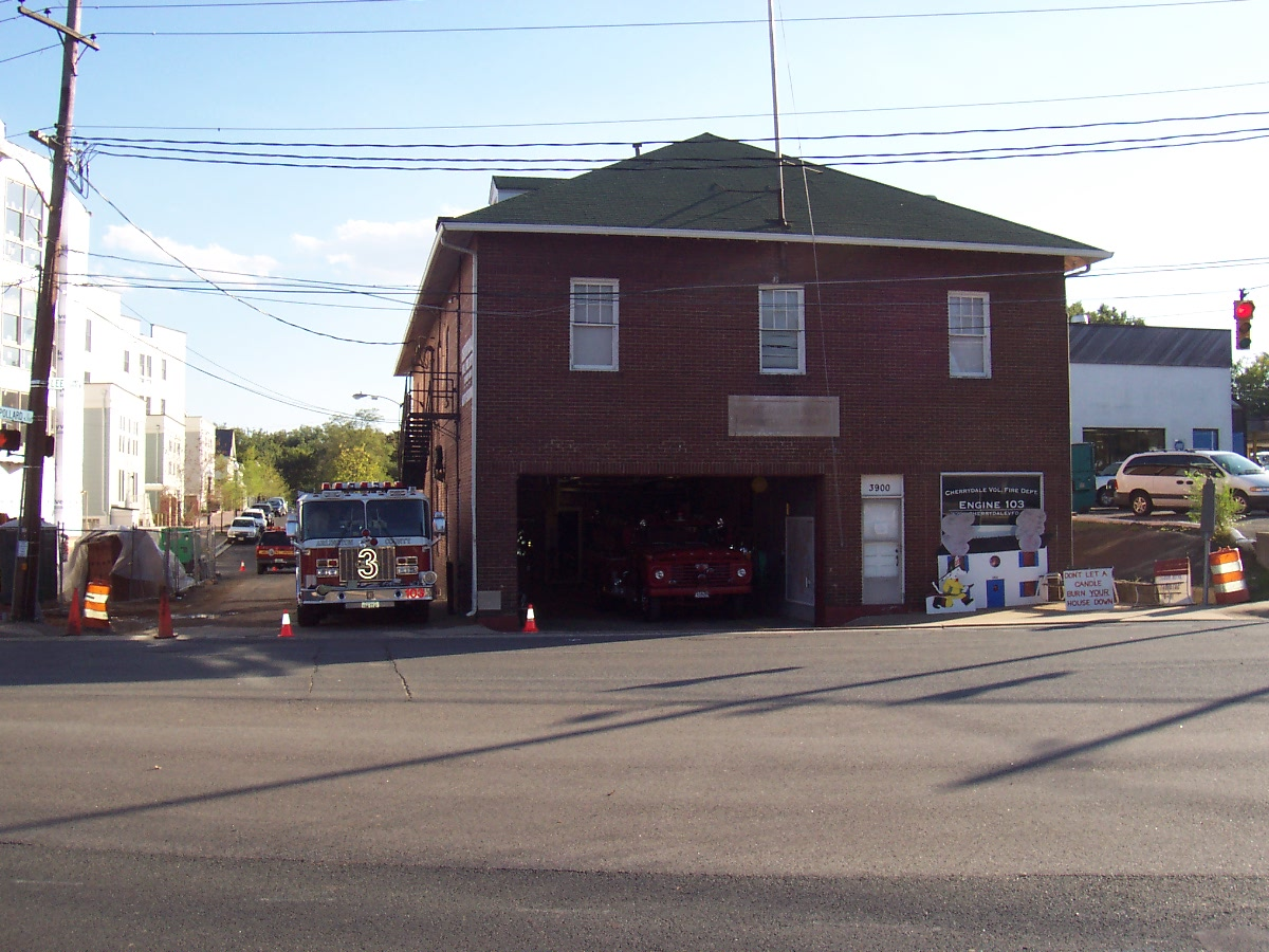 A view of the volunteer fire house in 2003.