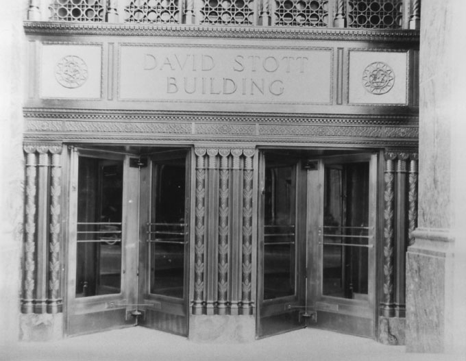 Swinging doors in the lobby