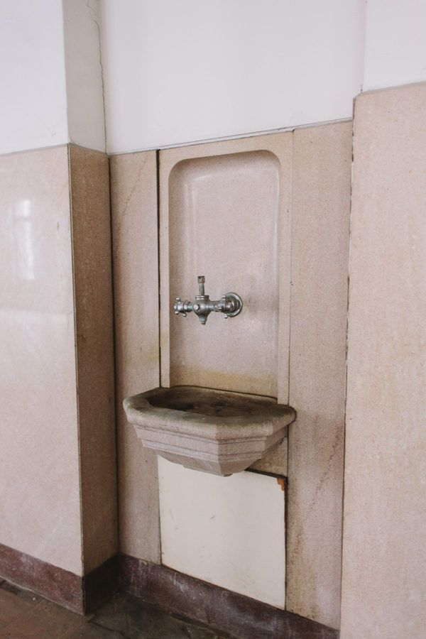 Built-in drinking fountains found throughout the building
