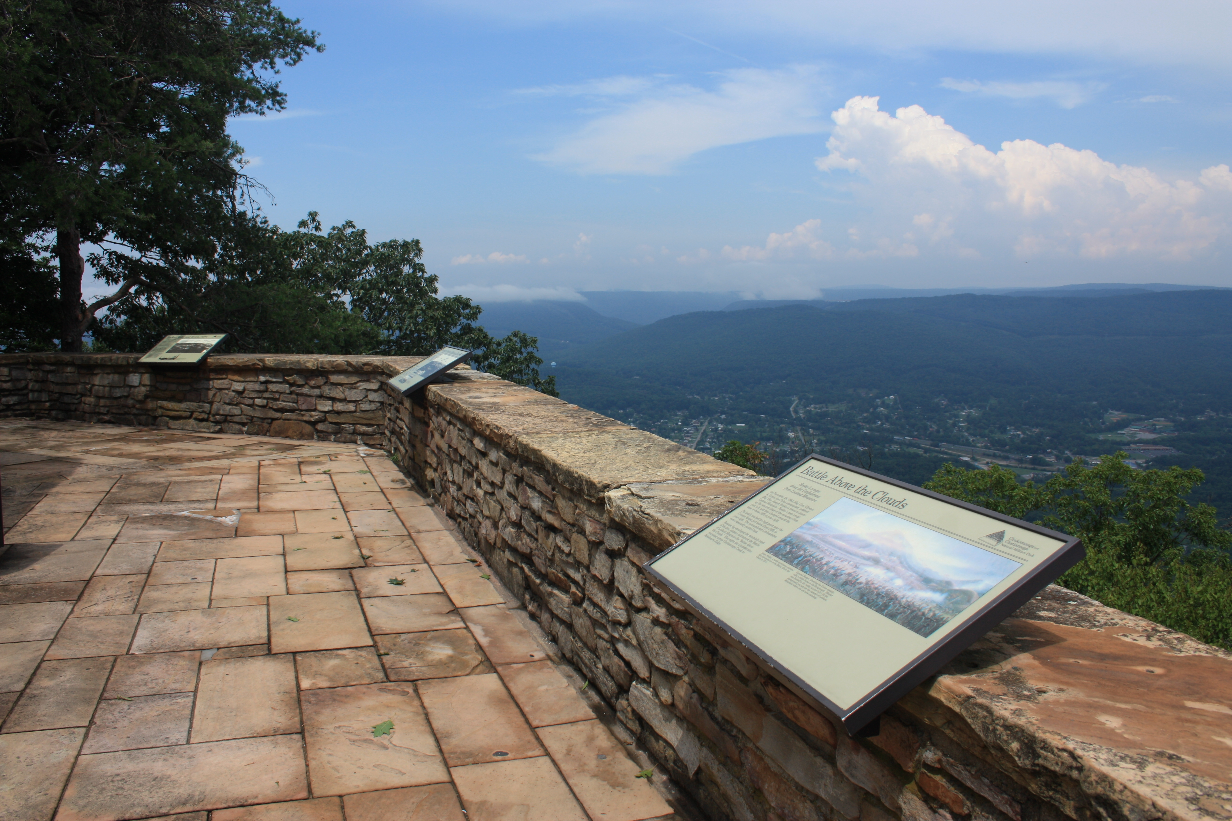 View looking west of the historic marker on the Ochs Museum observation deck. (Photo by Dale K. Benington)