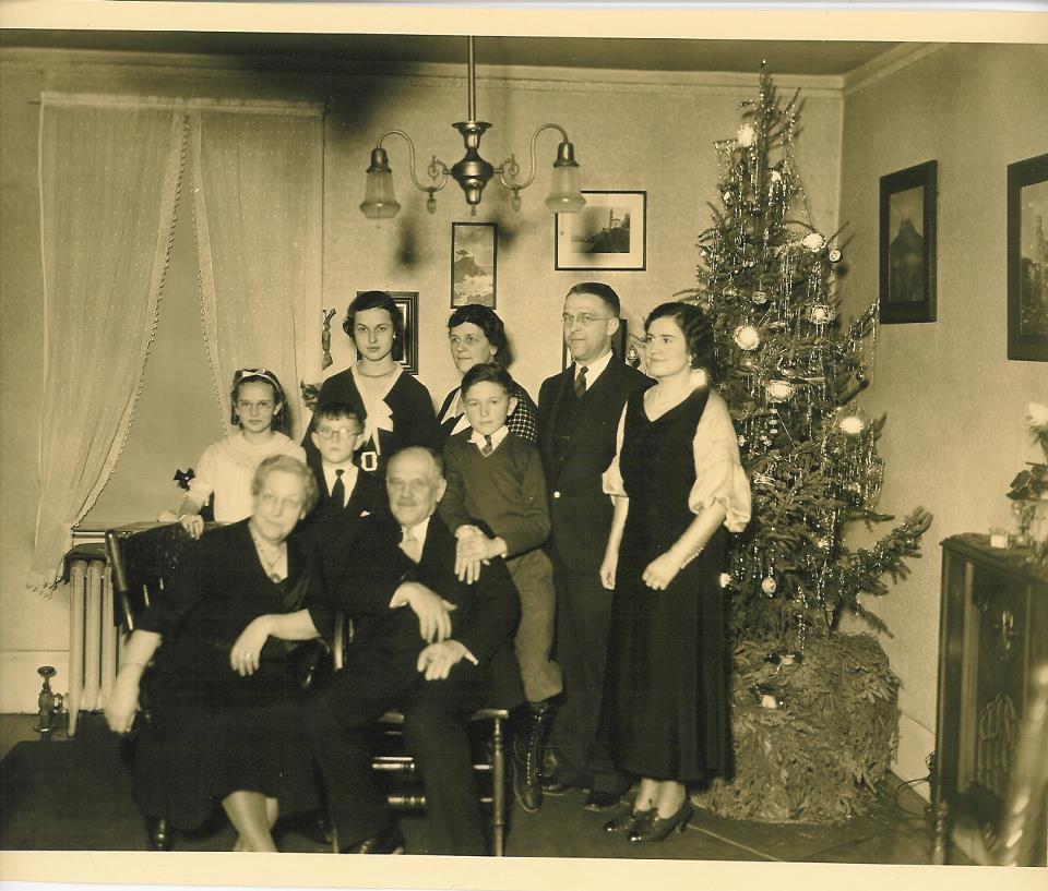 The Kempf family celebrating Christmas in the home in 1933