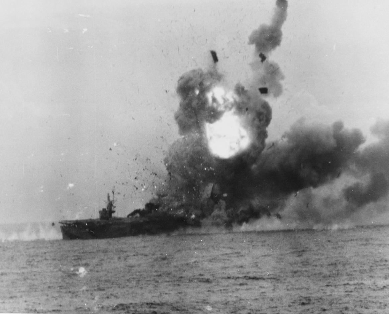 USS St. Lo explodes following a devastating Kamikaze strike following the Battle.