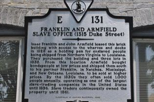 From 1828 to 1836, Franklin and Armfield sold as many as 1,800 slaves a year to slave owners in Louisiana and Mississippi.