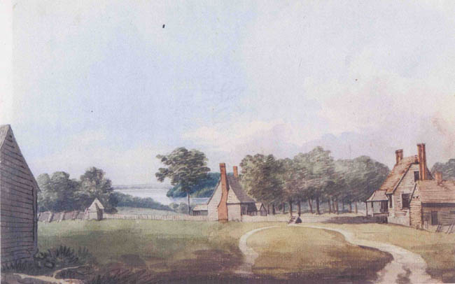 1796 painting of Rippon Lodge and surrounding buildings