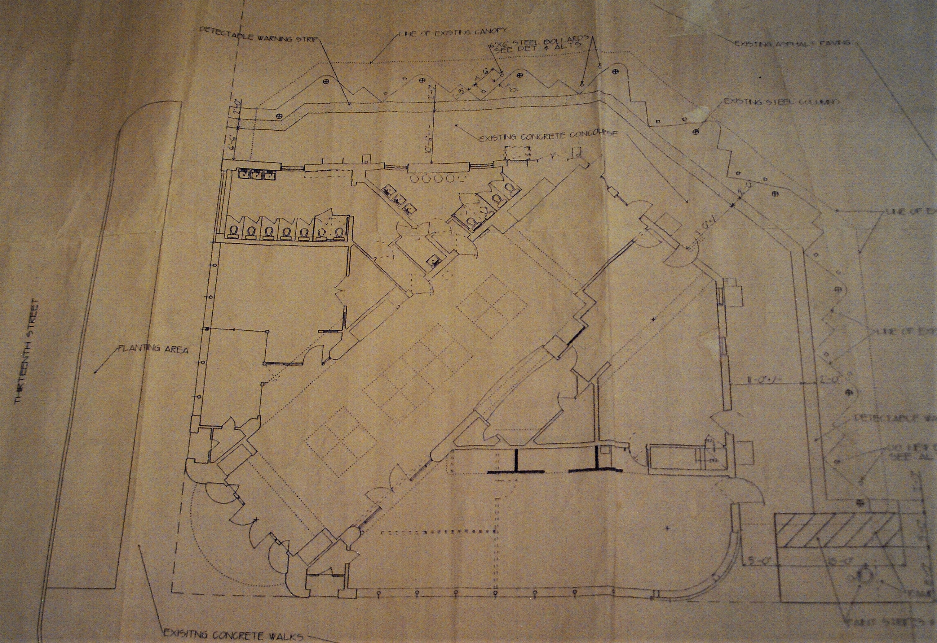 Floor plan used during 1994 renovations.  Drawn and prepared by architect Robert J. Summerfeldt, AIA.