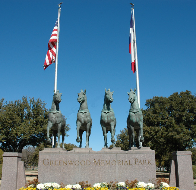 The four replica horses at the entrance to the cemetery.