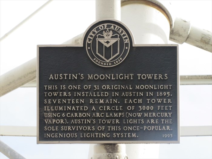 The towers include this brief historic marker.