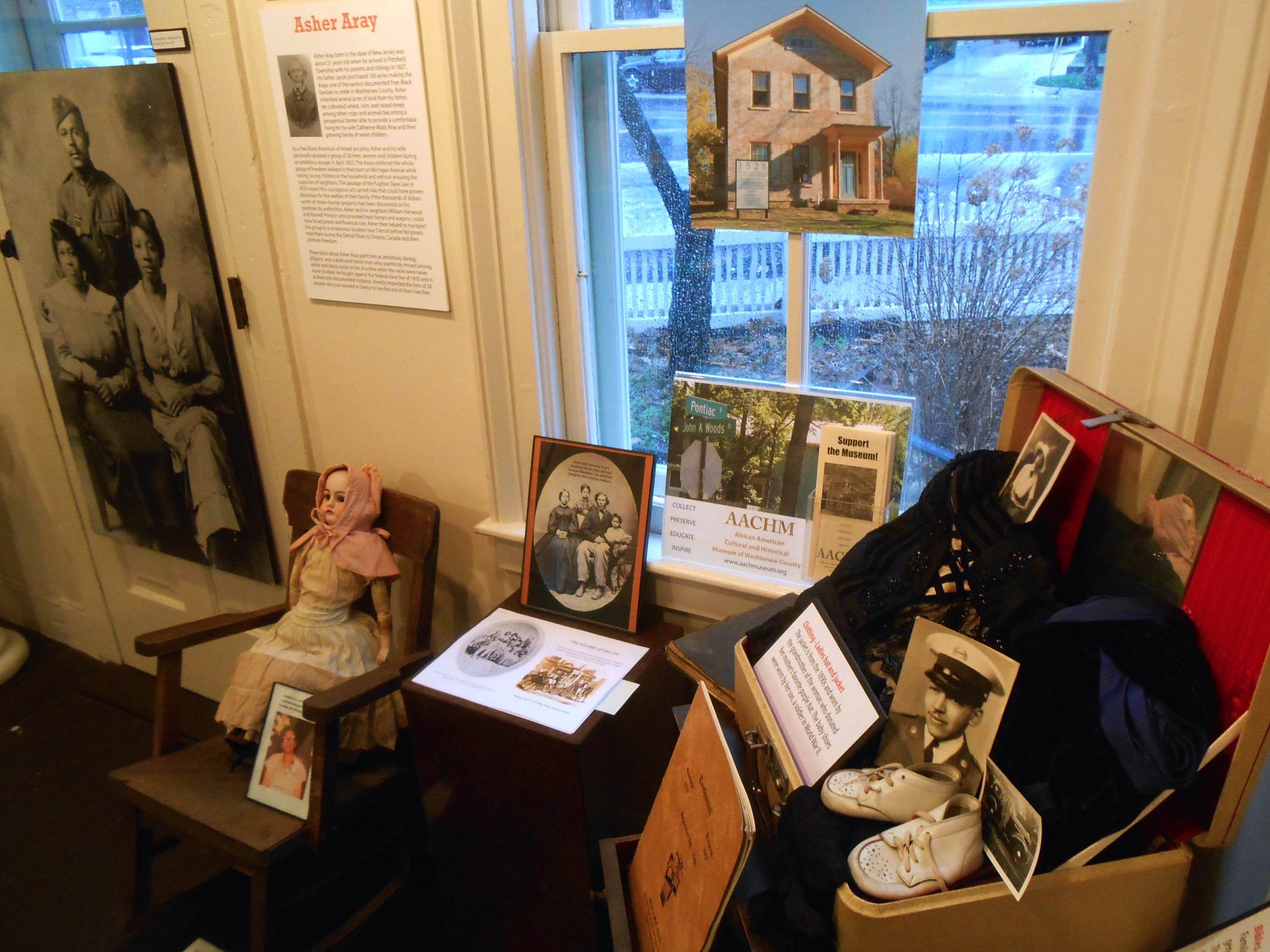 A temporary exhibit on the Aray family, conductors on the Underground Railroad, including a prized gourd doll made by one of the Aray family members that was recently donated to the museum by a descendant