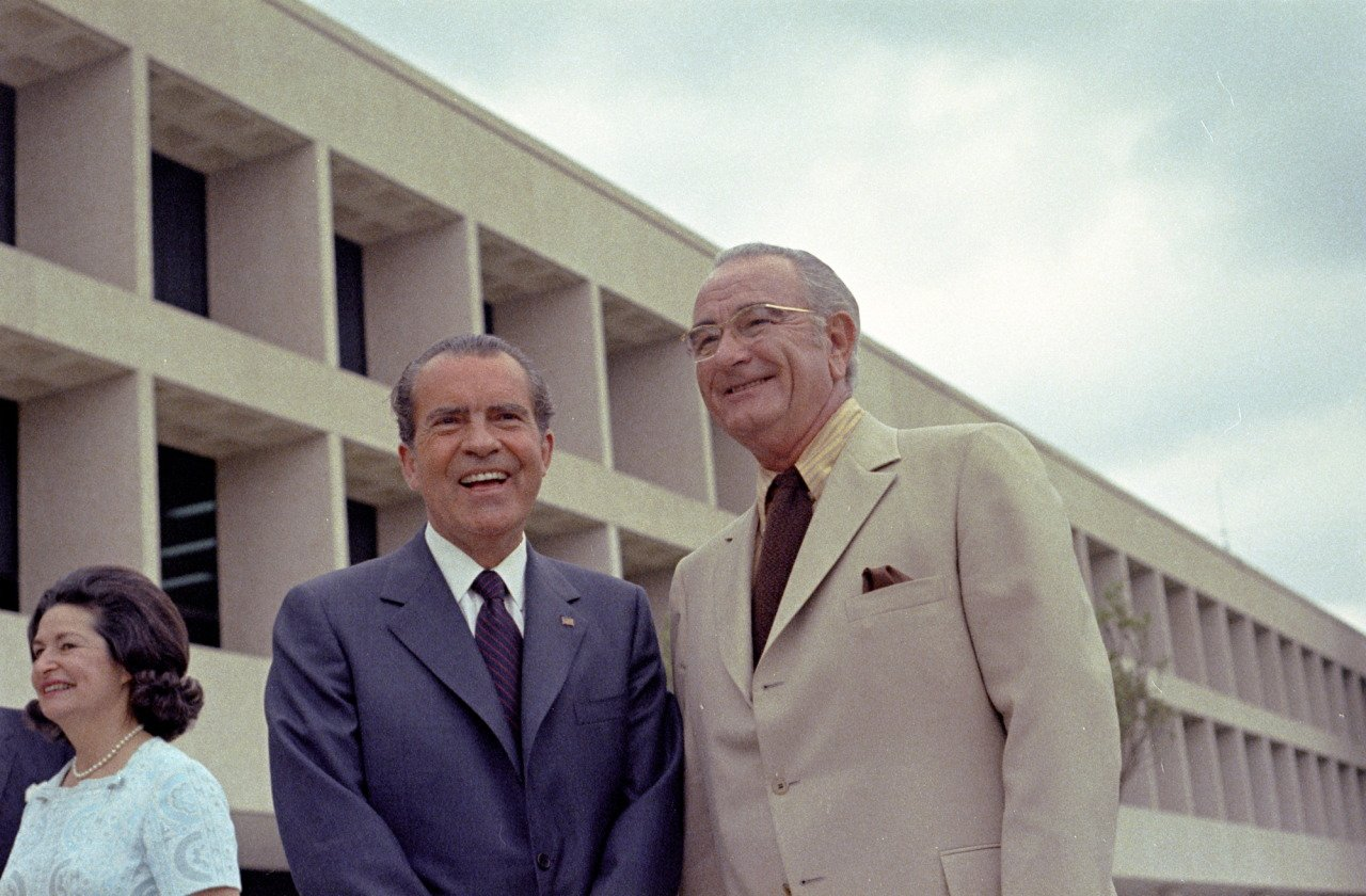 Lyndon Johnson and President Richard Nixon at the dedication of the Lyndon Johnson Library and Museum, May 22, 1971