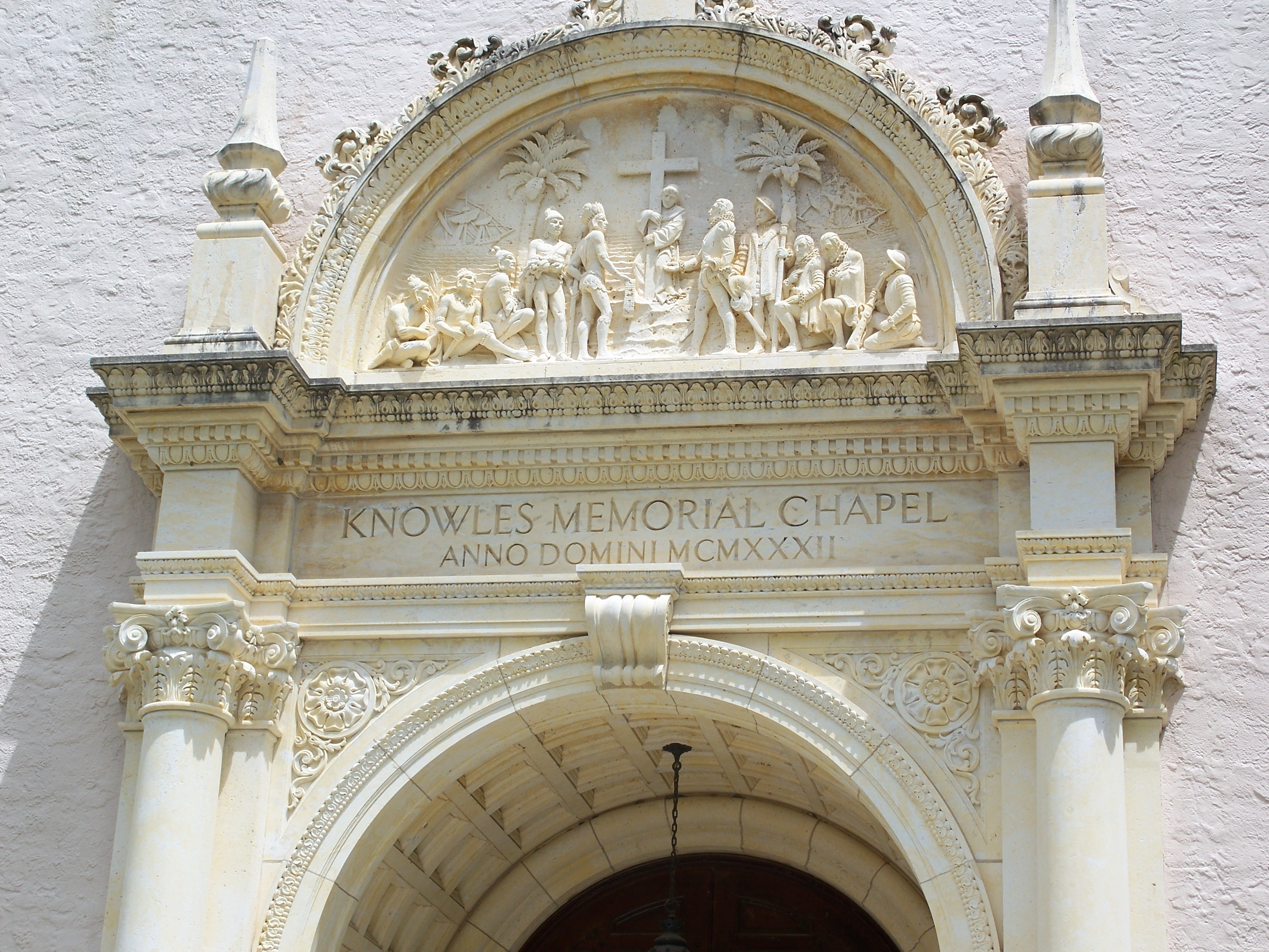 Detail of the relief adorning the entrance of Knowles Memorial Chapel