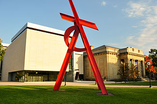"The painted steel sculpture ""Orion"" stands on the front lawn of UMMA"