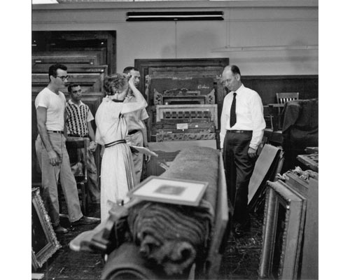 Collections storage in 1966 at UMMA as preparations are made for moving some works of art