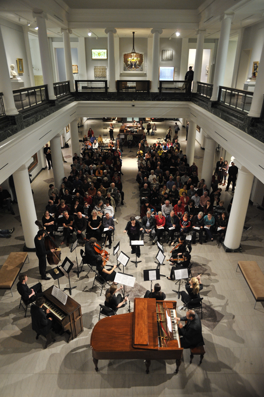 The atrium in the hall holds performing arts events