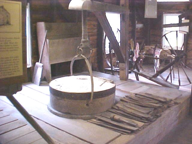 The millstone used for grinding grain.