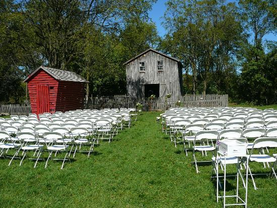 Preparations for a wedding ceremony to be held on the farm grounds