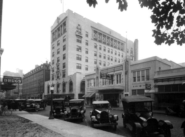 San Juan Hotel and Beacham Theatre in Orlando, c. 1923. Today the Beacham operates as a concert venue.