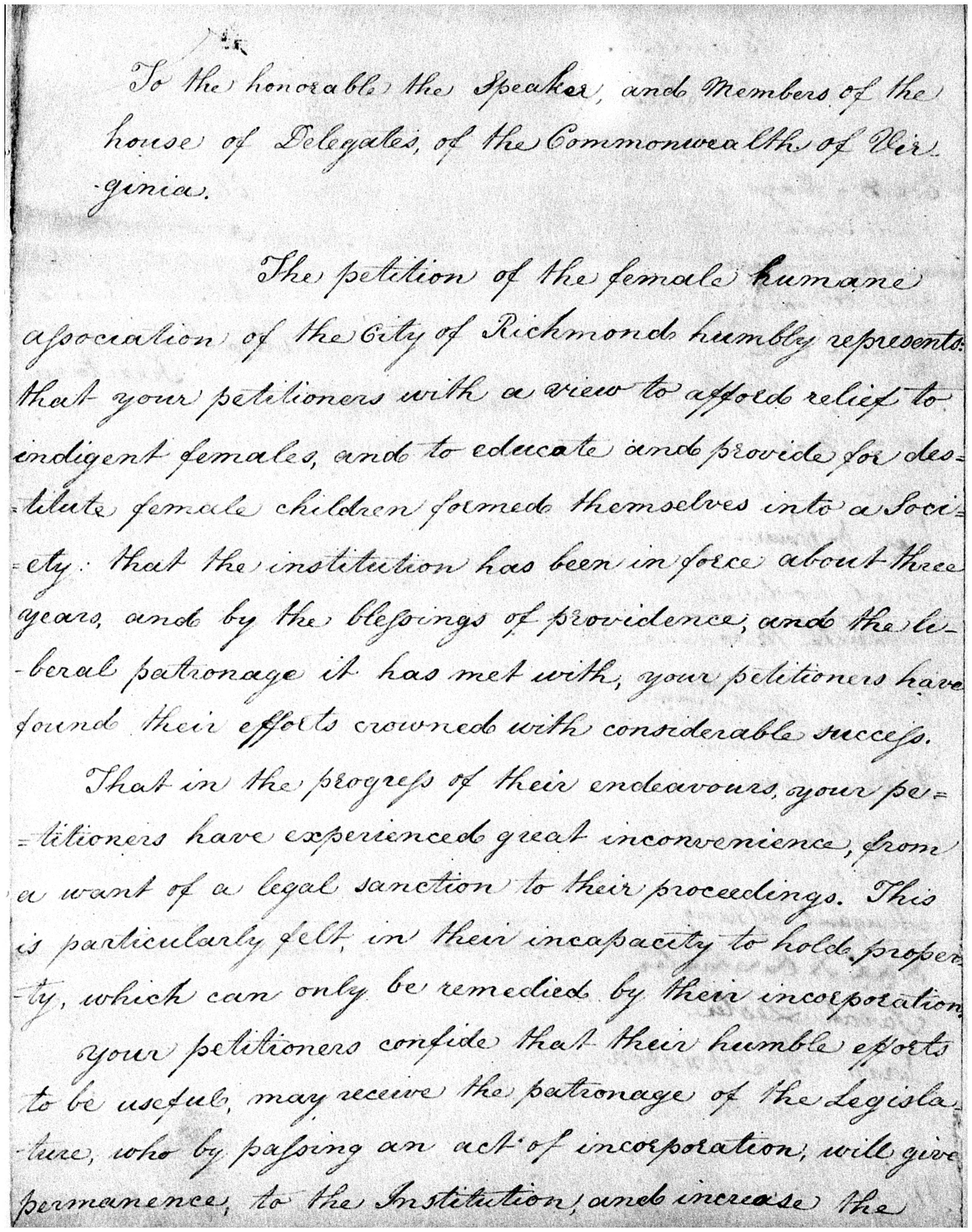 Page 1 of the 1810 petition to incorporate the Female Humane Association of Richmond, in Legislative Petitions of the General Assembly, 1776-1865, Accession 36121, Library of Virginia, Richmond, Va.