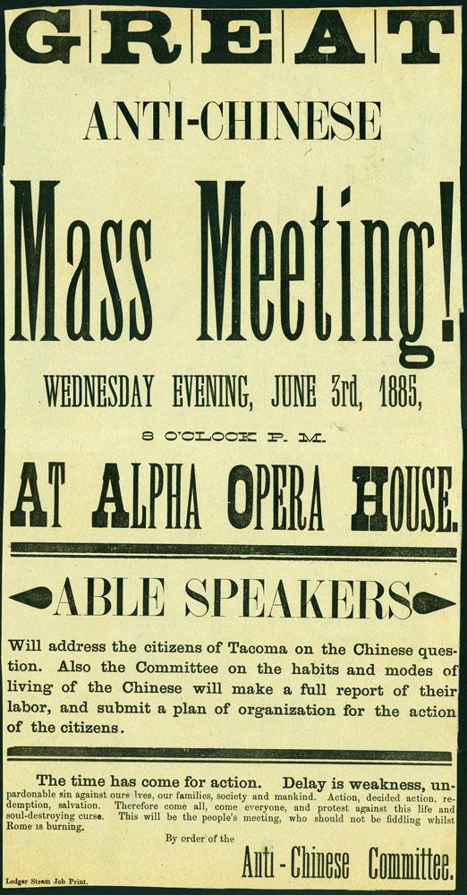 Anti-Chinese Mass Meeting Poster (June 3, 1885)