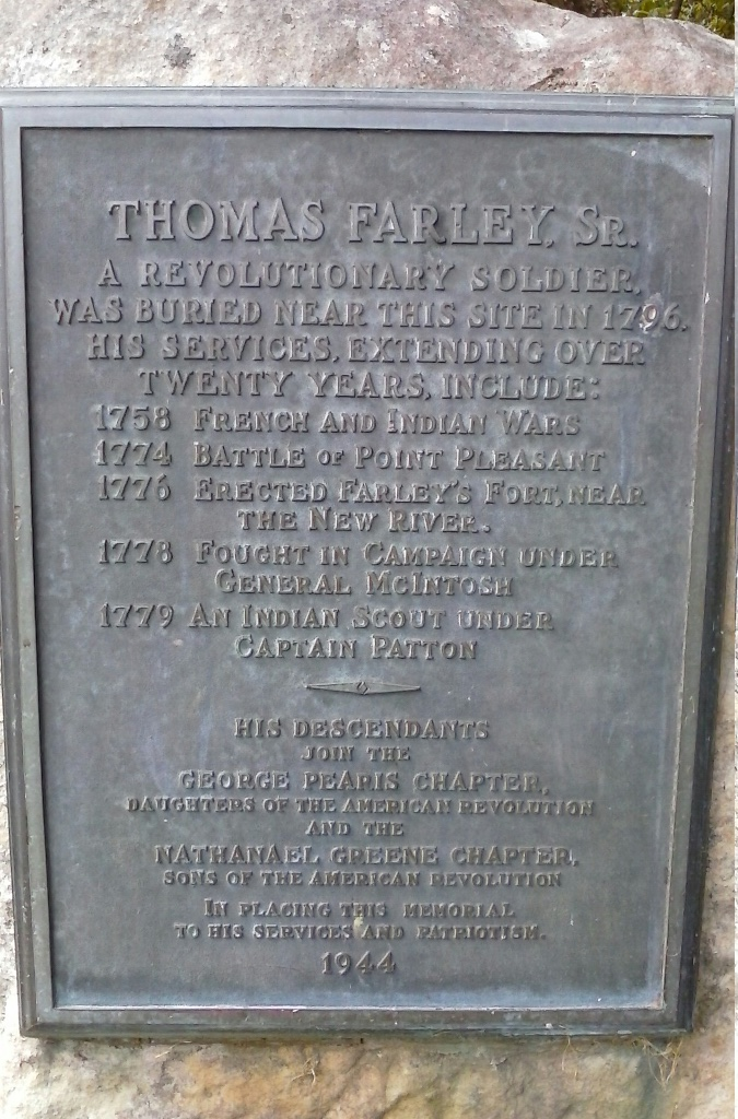 Historical marker of Thomas Farley at the Farley Wayside in Giles County Virginia.