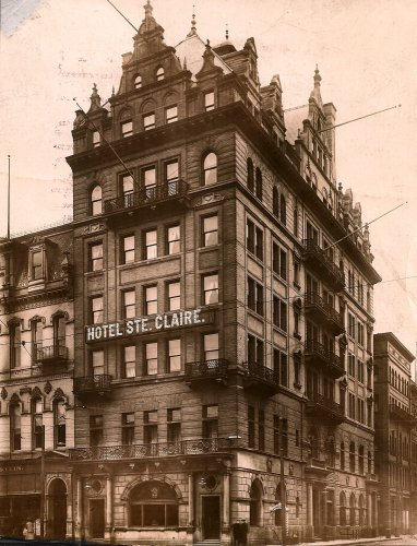 Hotel Ste. Claire stood at the corner of Detroit's Randolph and Monroe streets and was one of the leading gathering places for men of influence in the city's early years.