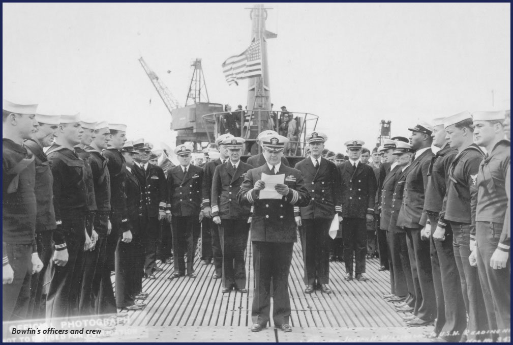 """The deck of the USS Bowfin at her launching ceremony. Launched on the 1-year anniversary of the Japanese attack on Pearl Harbor, she was dubbed the """"Pearl Harbor Avenger."""""""