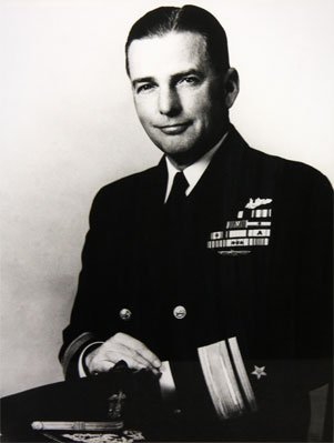 Admiral Ralph Christie, one of the inventors of the flawed Mark 6 exploder in the Mark 14 torpedo and later in command of submarine operations in the South Pacific. He accompanied the Bowfin's third patrol in person for 29 days.
