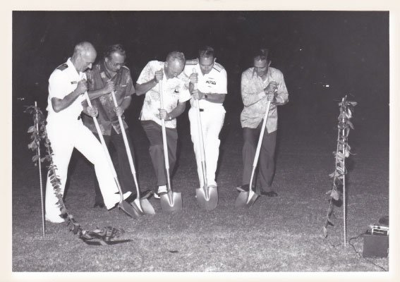 Breaking ground for the Bowfin's new berth as a museum in Pearl Harbor, Hawaii, in 1980.