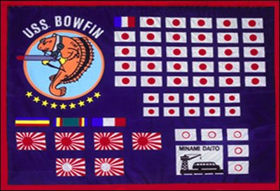 The Bowfin's battle flag, depicting the 39 merchant ships and 4 military vessels claimed sunk. The single French flag represents a Vichy French merchant ship which was sunk off Saigon in convoy with Japanese vessels.